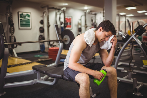 man tired after workout increase energy with Progentra
