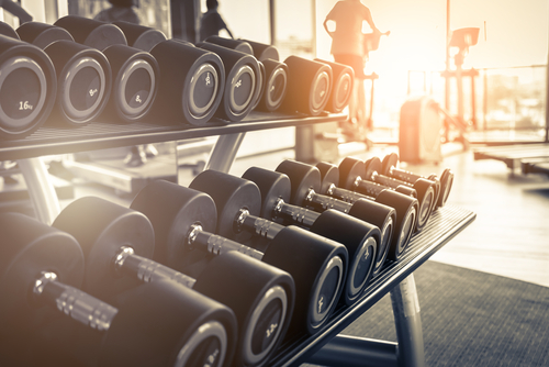 set of free weights in the gym