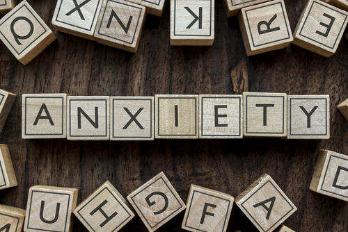 anxiety word in wooden blocks