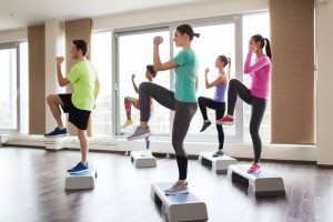 group aerobic exercise, step up
