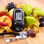 Glucose meter, fruits, dumbbells, diabetes, healthy lifestyle