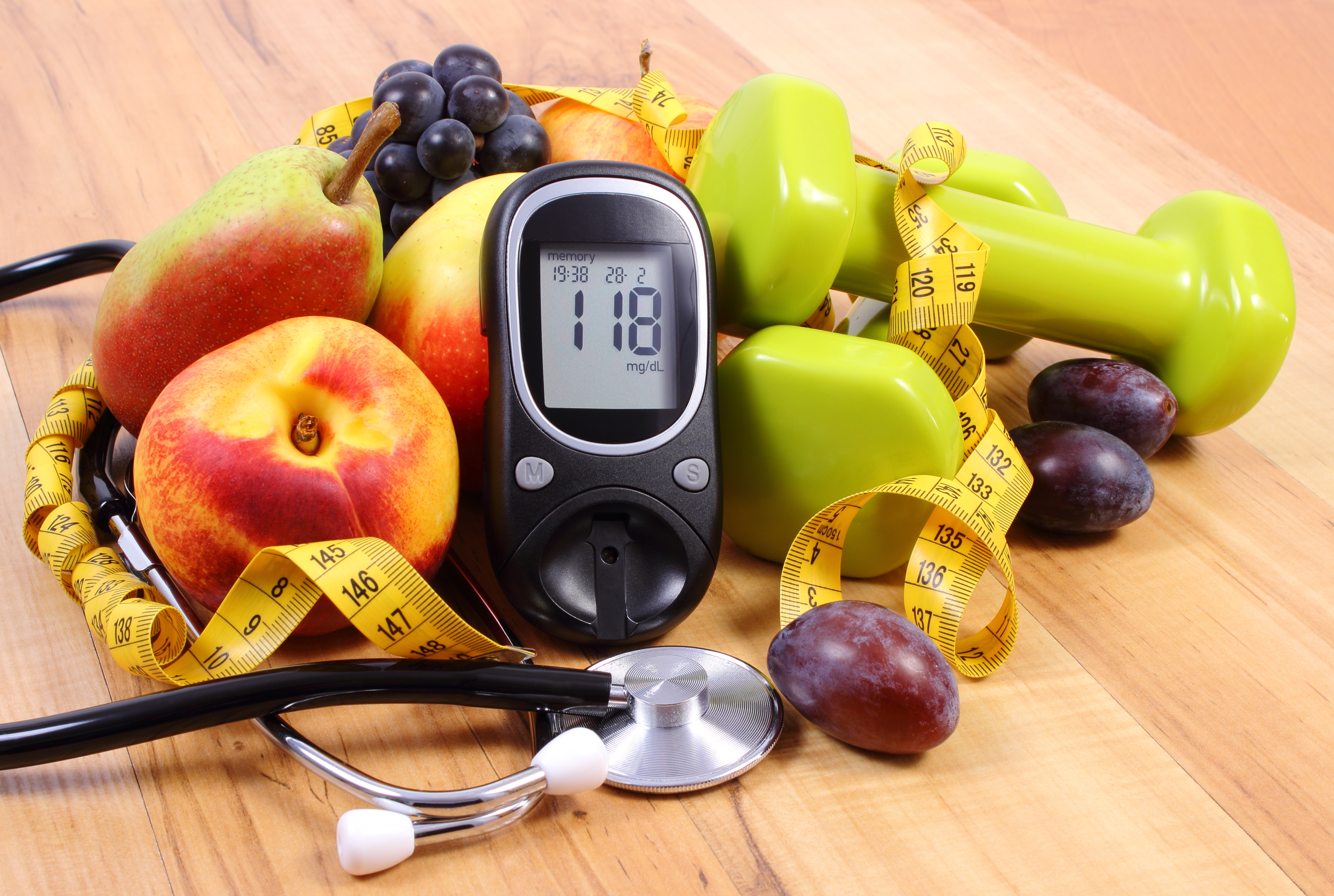 Glucose meter, fruits, dumbbells, diabetes, healthy lifestyle