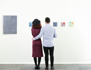 couple date in art gallery