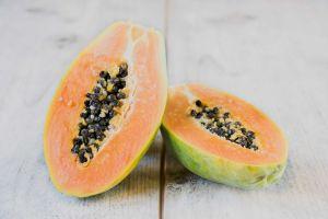 fresh halved papaya